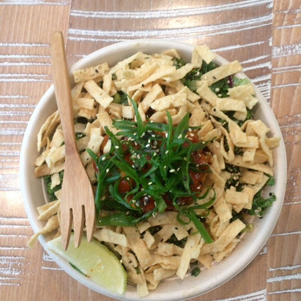 """Photo of By Chloe  by <a href=""""/members/profile/EcoJoe"""">EcoJoe</a> <br/>Spicy Thai apricot tempeh quinoa, almonds, edamame, scallion, crispy wontons with peanut dressing <br/> October 31, 2016  - <a href='/contact/abuse/image/74813/185702'>Report</a>"""