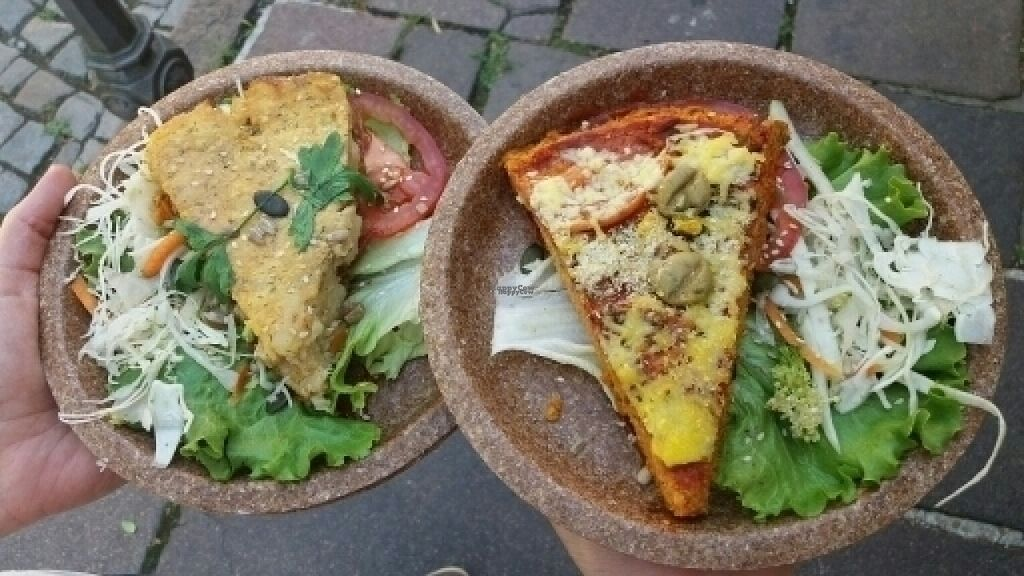 """Photo of CLOSED: Zaziv Vegan Bistro  by <a href=""""/members/profile/die_woelffe"""">die_woelffe</a> <br/>potato pie & polenta pizza <br/> August 4, 2016  - <a href='/contact/abuse/image/74820/165477'>Report</a>"""