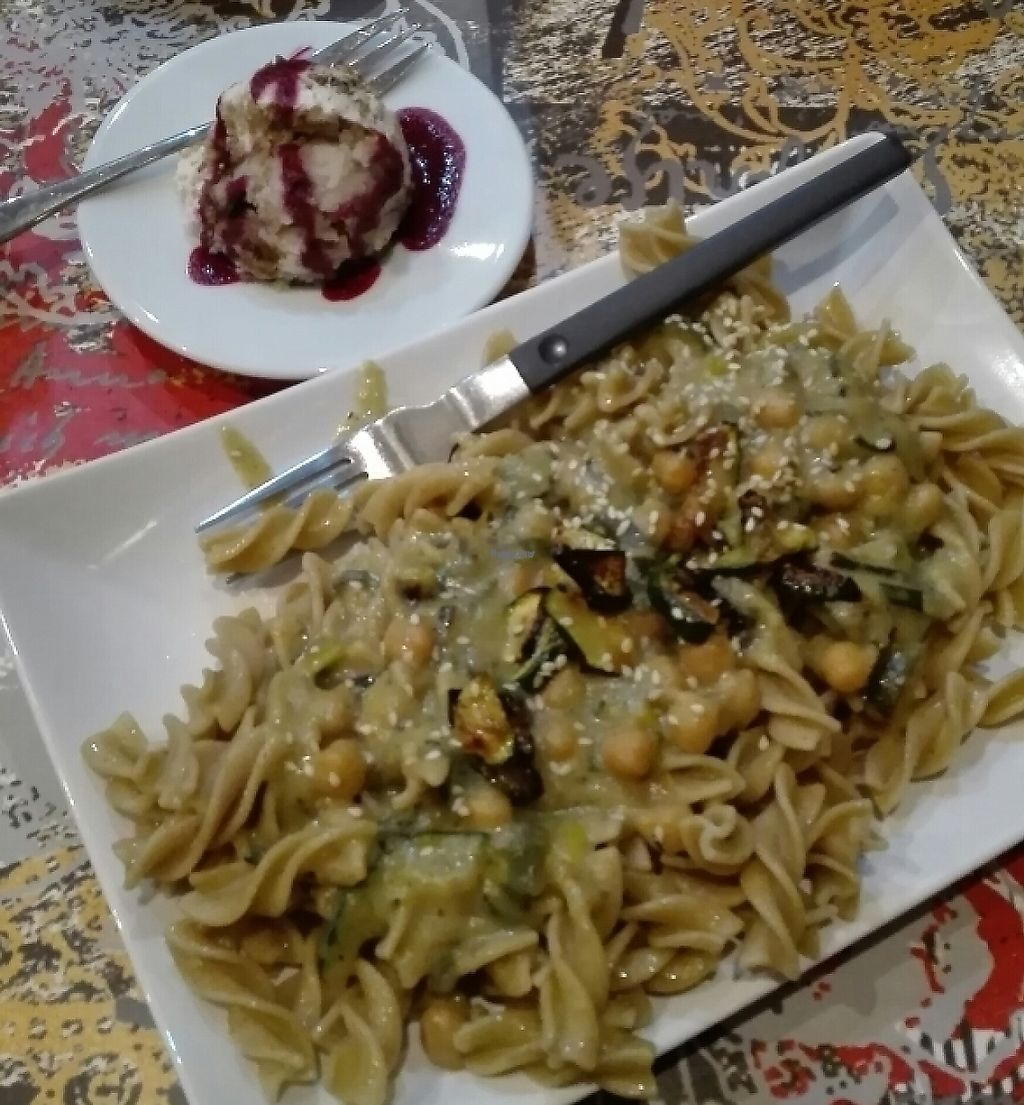 """Photo of CLOSED: Zaziv Vegan Bistro  by <a href=""""/members/profile/tinabratina"""">tinabratina</a> <br/>pasta with chickpea and leek sauce + dessert  <br/> January 28, 2017  - <a href='/contact/abuse/image/74820/243807'>Report</a>"""