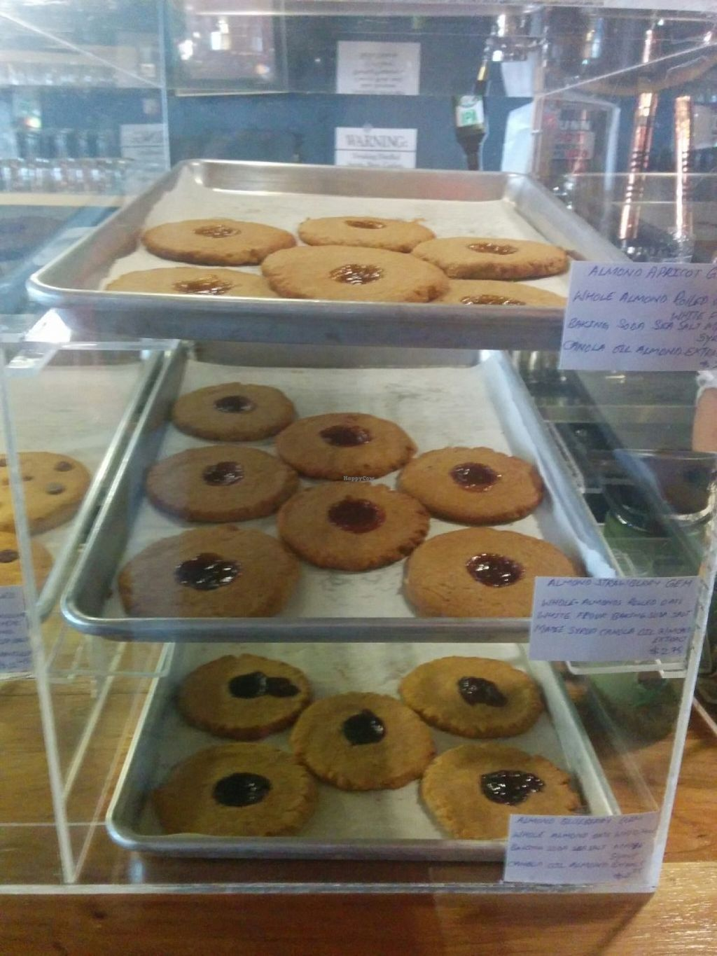 """Photo of Shangri-La Vegan - Telegraph  by <a href=""""/members/profile/MizzB"""">MizzB</a> <br/>Cookie dessert case, almond apricot, almond strawberry, almond blueberry <br/> June 10, 2016  - <a href='/contact/abuse/image/74865/153229'>Report</a>"""