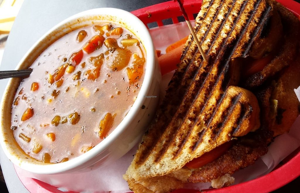 """Photo of Upper Crust Bakery & Soup  by <a href=""""/members/profile/American%20Vegan"""">American Vegan</a> <br/>Garden Vegetable Soup and Mediterranean Panini (vegan- no cheese) <br/> June 10, 2016  - <a href='/contact/abuse/image/74870/209846'>Report</a>"""