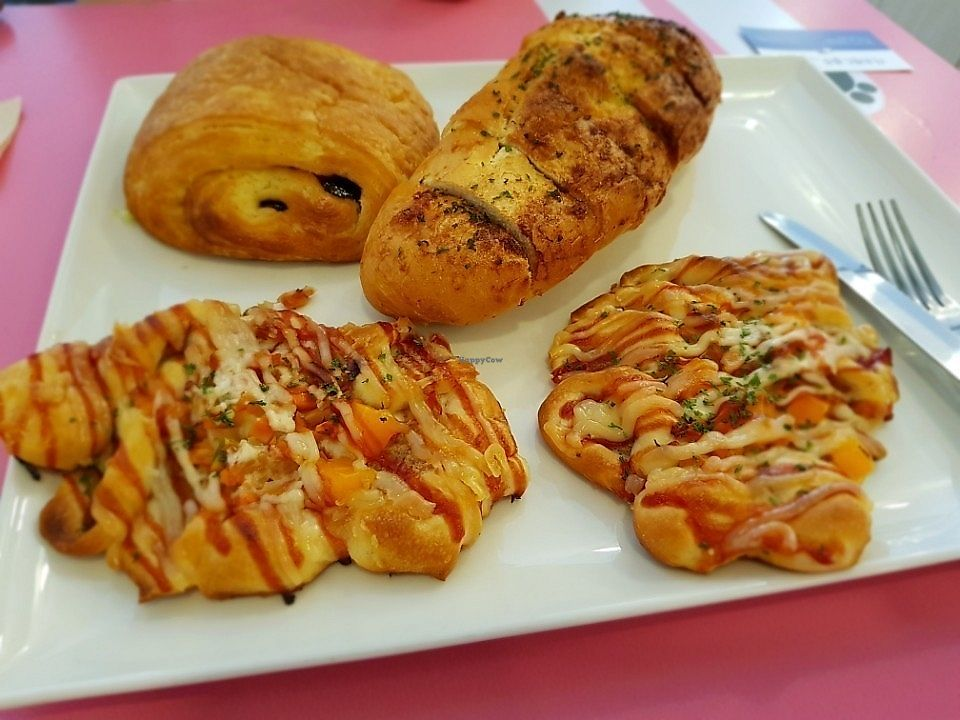 """Photo of Haemil Bakery  by <a href=""""/members/profile/VeganIntactivist"""">VeganIntactivist</a> <br/>Yummy!  Chocolate croissant, garlic bread, ham & cheese bread. (might not be the actual names..) <br/> October 1, 2017  - <a href='/contact/abuse/image/74914/310470'>Report</a>"""