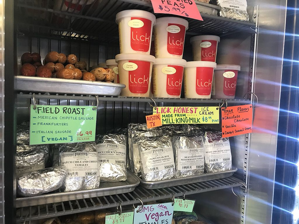 "Photo of Farmers Market of Grapevine  by <a href=""/members/profile/Tata"">Tata</a> <br/>Lick Vegan ice cream from Austin (the flavors sound delicious. Can't wait to try ), Vegan tamales and sausages <br/> March 6, 2018  - <a href='/contact/abuse/image/74915/367285'>Report</a>"