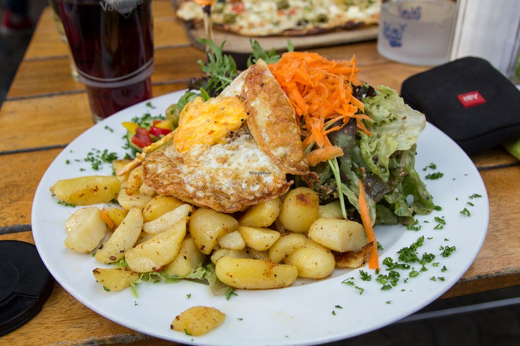 """Photo of Nauwies  by <a href=""""/members/profile/SVEggieSI"""">SVEggieSI</a> <br/>Salad with potatoes and fried egg (overeasy - as on demand) <br/> June 20, 2016  - <a href='/contact/abuse/image/74968/154979'>Report</a>"""