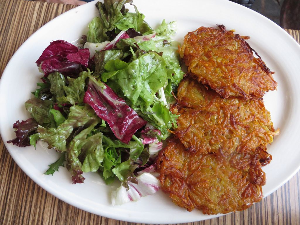 """Photo of Die Kartoffel  by <a href=""""/members/profile/VegiAnna"""">VegiAnna</a> <br/>potato and carrot patties with salad (vegan) <br/> September 30, 2016  - <a href='/contact/abuse/image/74971/178753'>Report</a>"""