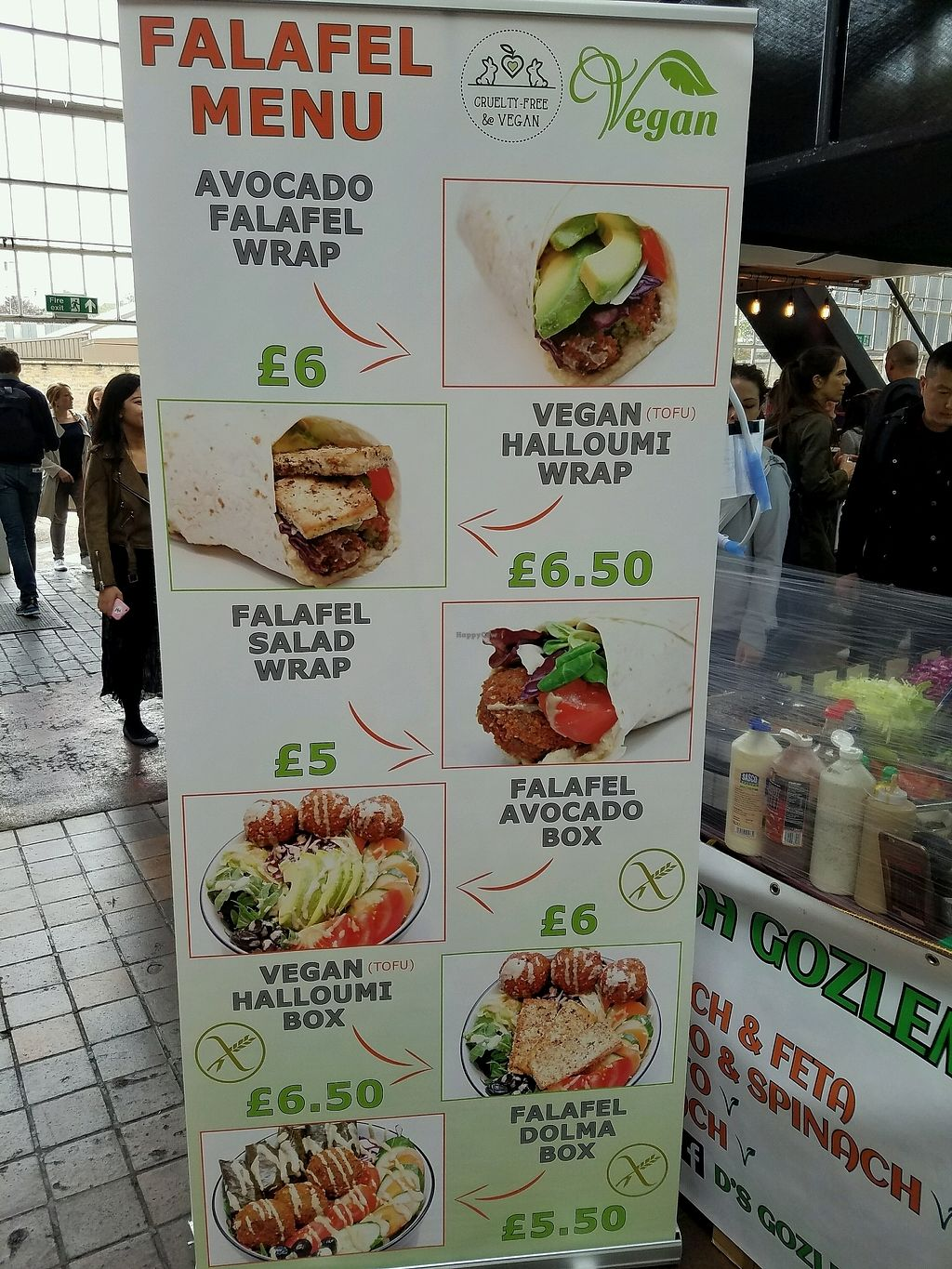 "Photo of Turkish Food Stall  by <a href=""/members/profile/eric"">eric</a> <br/>signage. mostly vegan <br/> September 23, 2017  - <a href='/contact/abuse/image/74980/307444'>Report</a>"