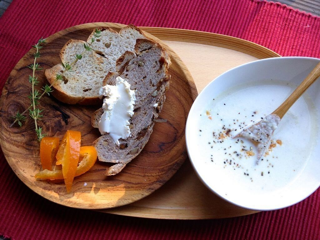 """Photo of Cafe Frosch  by <a href=""""/members/profile/Sumi"""">Sumi</a> <br/>Little bread set :   2 different kind of Koji Bread served with a choice of Vegan SOUP or SALAD <br/> November 7, 2016  - <a href='/contact/abuse/image/75038/187167'>Report</a>"""