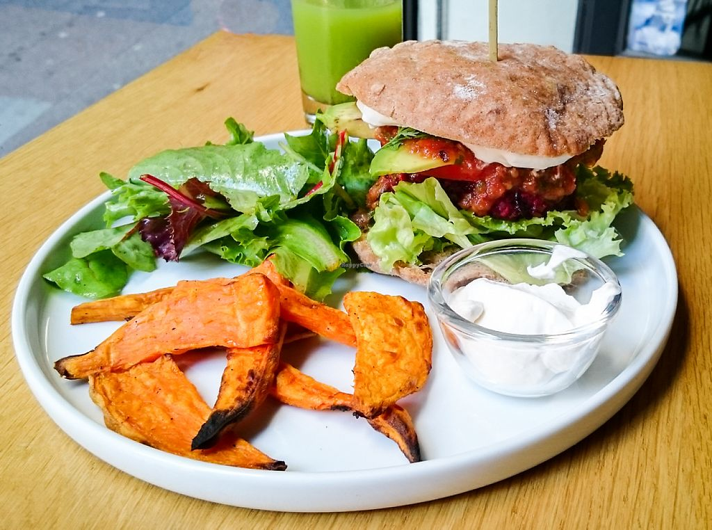 """Photo of KOKO Green  by <a href=""""/members/profile/loloford"""">loloford</a> <br/>gluten free mexican burger with sweet potatoe fries <br/> June 2, 2017  - <a href='/contact/abuse/image/75042/265083'>Report</a>"""