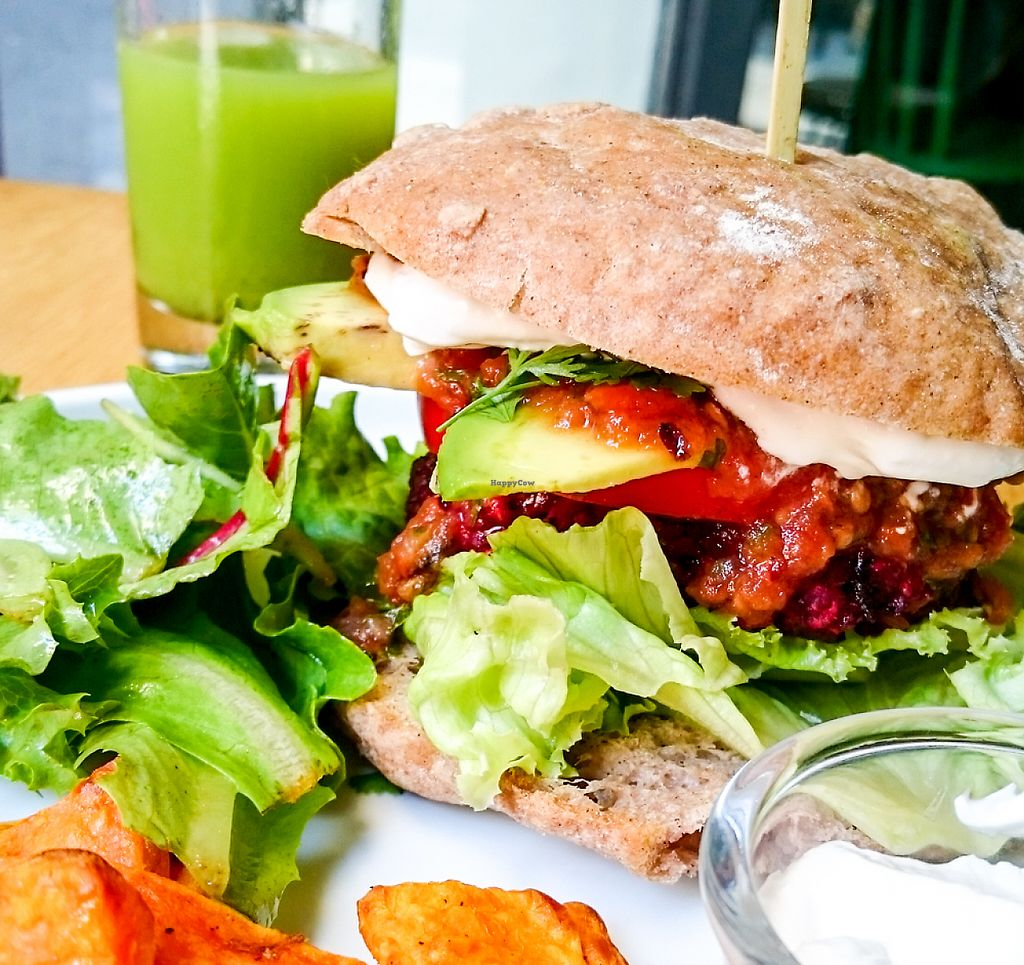 """Photo of KOKO Green  by <a href=""""/members/profile/loloford"""">loloford</a> <br/>gluten free mexican burger with sweet potatoe fries <br/> June 2, 2017  - <a href='/contact/abuse/image/75042/265084'>Report</a>"""