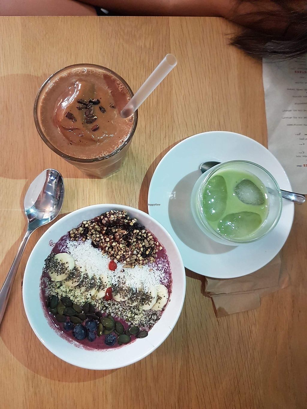 """Photo of KOKO Green  by <a href=""""/members/profile/DominikaBencsikova"""">DominikaBencsikova</a> <br/>This is what i had a couple of months ago in KOko green, a delicious acai smoothie bowl with gorgeous granola on top companied with the best cold matcha latte in the city (no joking, i have tasted it in a couple of places and this is just great!) and my a cocoa smoothie :) great great and again great! <br/> November 13, 2017  - <a href='/contact/abuse/image/75042/325194'>Report</a>"""
