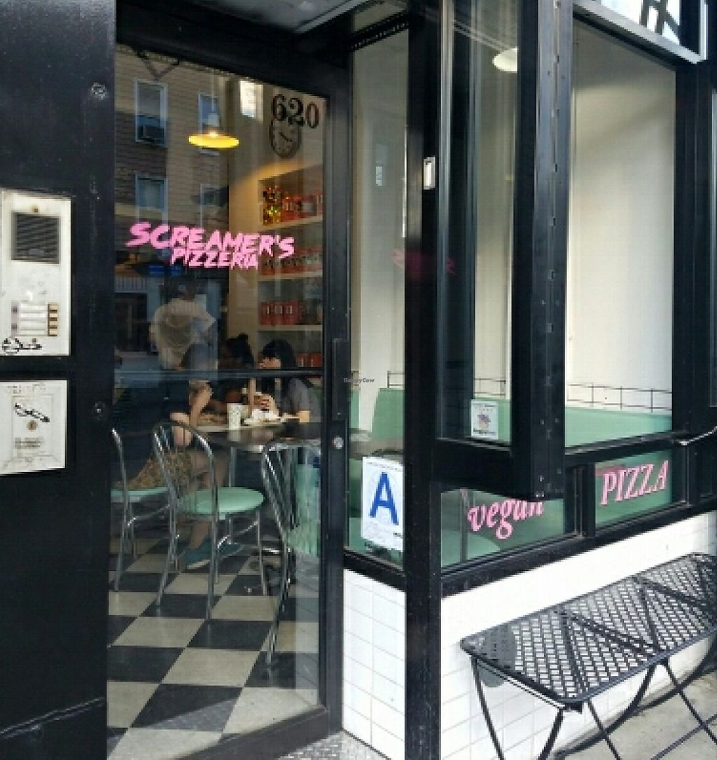 "Photo of Screamer's Pizzeria  by <a href=""/members/profile/kenvegan"">kenvegan</a> <br/>Entrance with HappyCow sticker <br/> June 24, 2016  - <a href='/contact/abuse/image/75081/212312'>Report</a>"