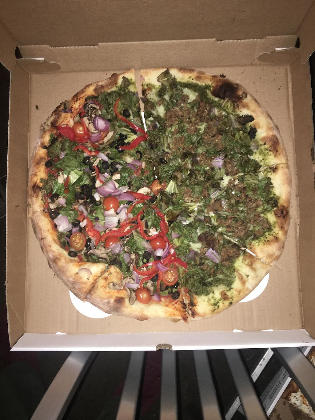 "Photo of Screamer's Pizzeria  by <a href=""/members/profile/770veg"">770veg</a> <br/>1/2 kale and 1/2 veggie pie <br/> September 15, 2017  - <a href='/contact/abuse/image/75081/304690'>Report</a>"