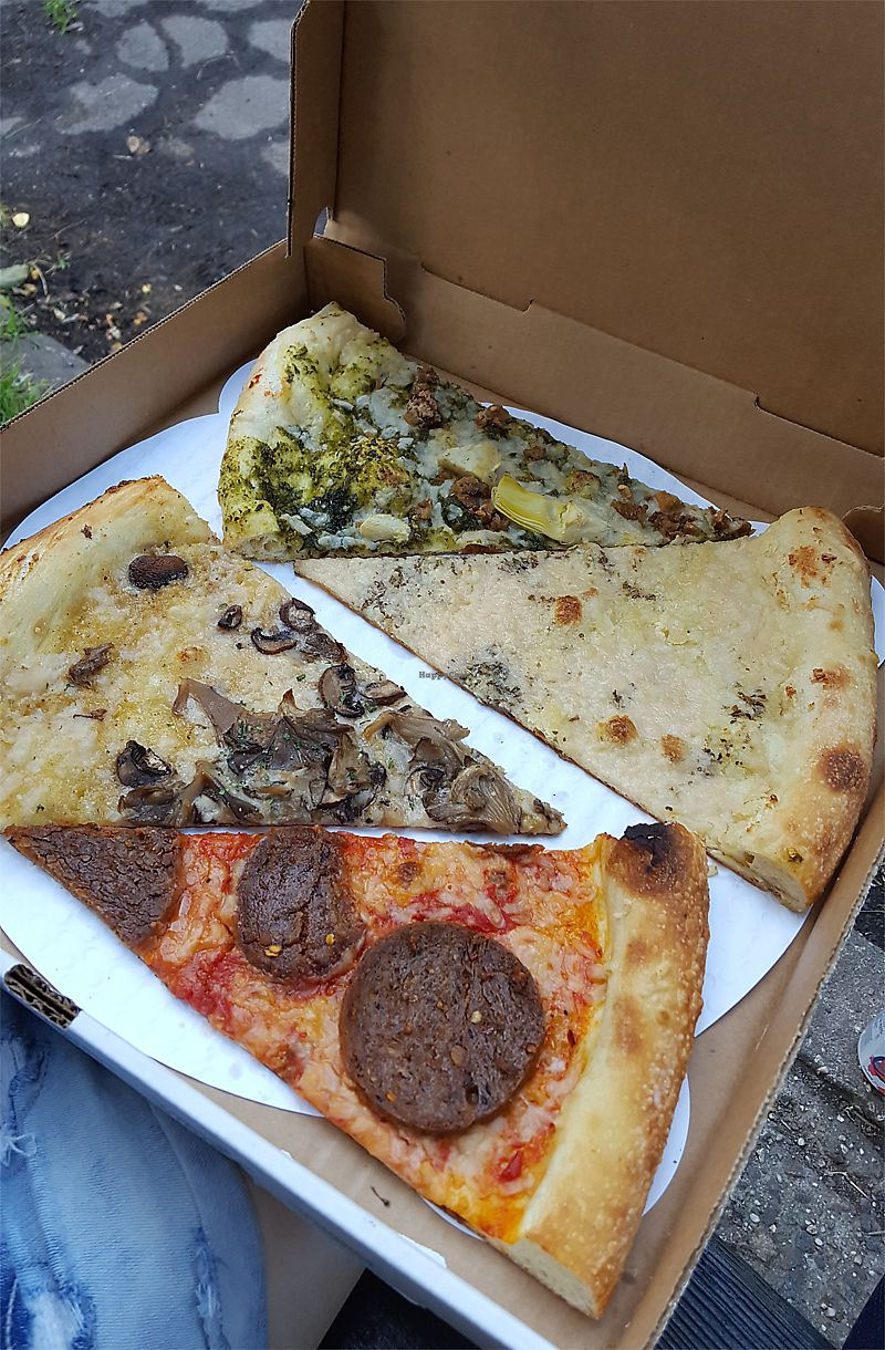"Photo of Screamer's Pizzeria  by <a href=""/members/profile/Seiashun"">Seiashun</a> <br/>Top to bottom: sausage and pesto, almond ricotta, screamer, pepperoni <br/> October 14, 2017  - <a href='/contact/abuse/image/75081/315122'>Report</a>"