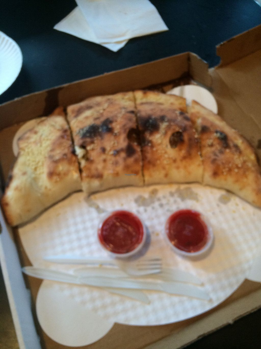 "Photo of Screamer's Pizzeria  by <a href=""/members/profile/fruitiJulie"">fruitiJulie</a> <br/>Calzone with almond ricotta cheese and vegan pepperoni  <br/> January 1, 2018  - <a href='/contact/abuse/image/75081/341566'>Report</a>"