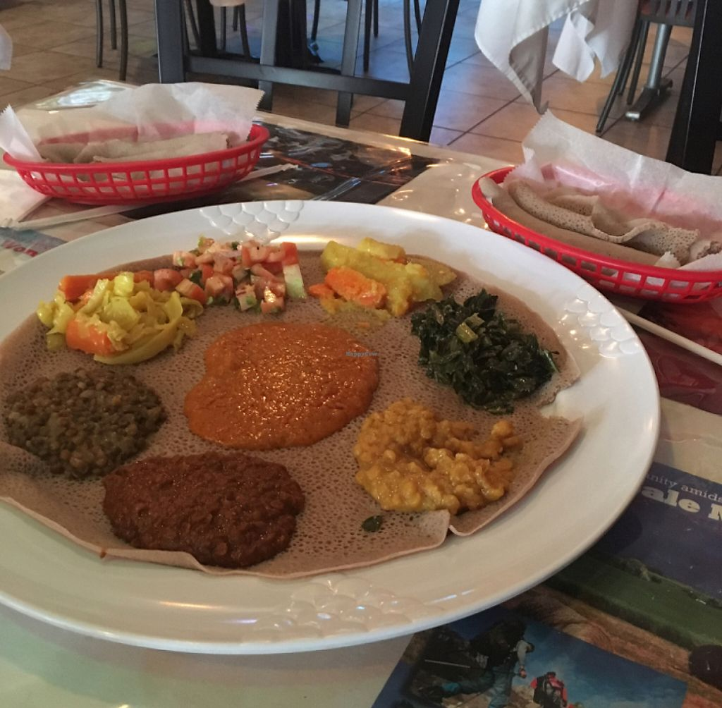 """Photo of Addis Ethiopian Restaurant  by <a href=""""/members/profile/KashiTamang"""">KashiTamang</a> <br/>vegan combo plate #2 for $14.75 <br/> July 25, 2016  - <a href='/contact/abuse/image/75116/191823'>Report</a>"""