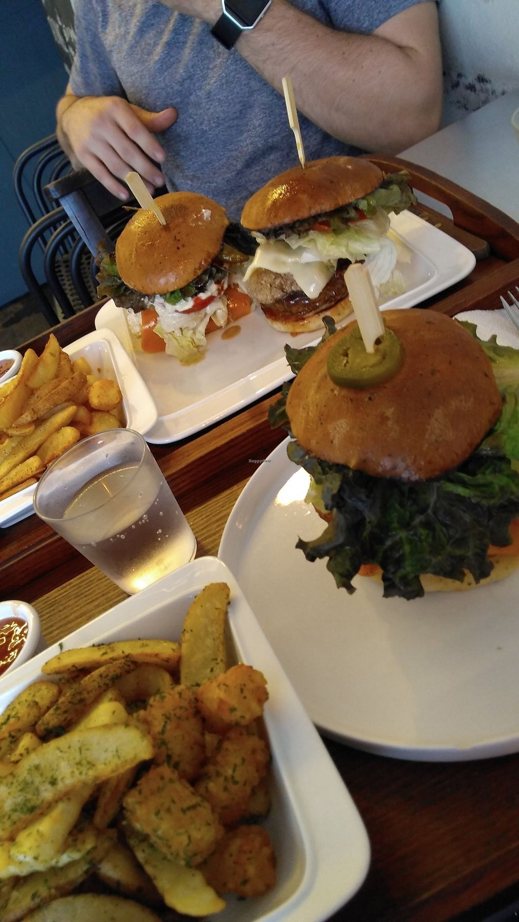 "Photo of Huggers - 허거스  by <a href=""/members/profile/egietz"">egietz</a> <br/>Jalepeno burger, tofu chili burger and chicken burger w/ fries <br/> October 9, 2017  - <a href='/contact/abuse/image/75128/313442'>Report</a>"