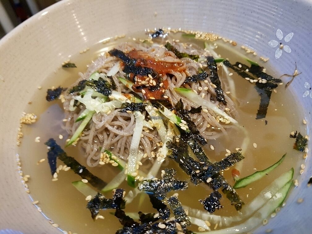 """Photo of CLOSED: MeMilGongBang - Gangnam - 메밀공방 강남역점  by <a href=""""/members/profile/mfrenette"""">mfrenette</a> <br/>Cold Buckwheat Noodles in a veggie broth. Ask for no egg <br/> October 22, 2016  - <a href='/contact/abuse/image/75133/183510'>Report</a>"""