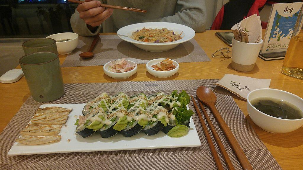 "Photo of Vegenarang  by <a href=""/members/profile/GabrielaVillafr%C3%A1dez"">GabrielaVillafrádez</a> <br/>-  Spicy 'shrimp' noodles - Avocado 'tuna' sushi  - Korean sides <br/> January 9, 2018  - <a href='/contact/abuse/image/75142/344553'>Report</a>"