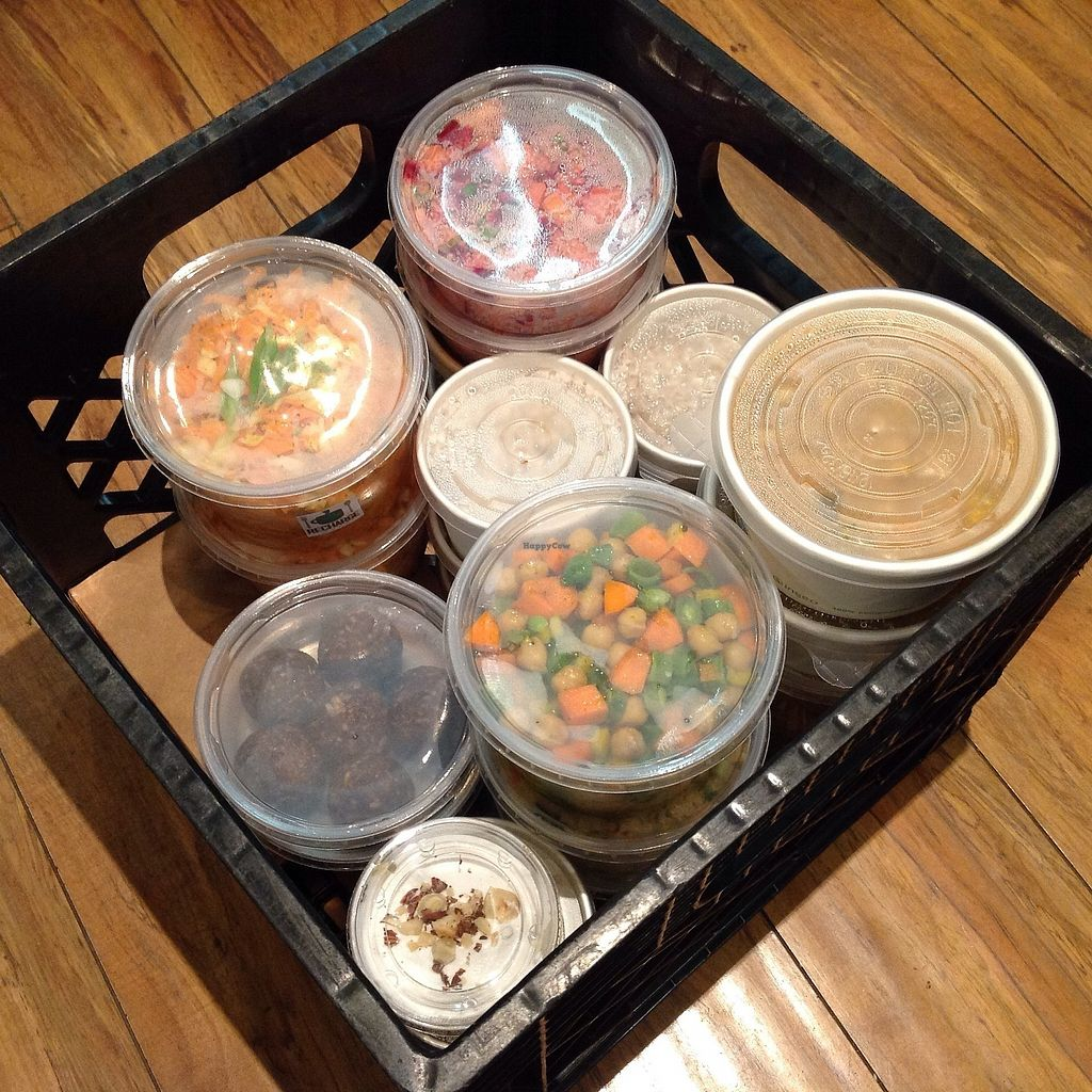 """Photo of Recharge Cafe  by <a href=""""/members/profile/GregoriousQ"""">GregoriousQ</a> <br/>selection of cold and hot plant-based dishes.  Basket contents often include: Soups, Salads, Stews, Sides & Snacks <br/> December 16, 2017  - <a href='/contact/abuse/image/75145/335965'>Report</a>"""