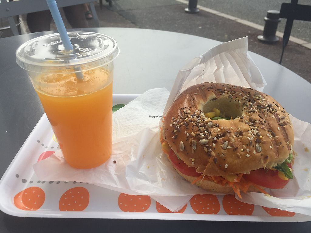 """Photo of Beach Garden  by <a href=""""/members/profile/Kevbromley"""">Kevbromley</a> <br/>vegan bagel and orange - €11 <br/> August 28, 2017  - <a href='/contact/abuse/image/75151/298310'>Report</a>"""
