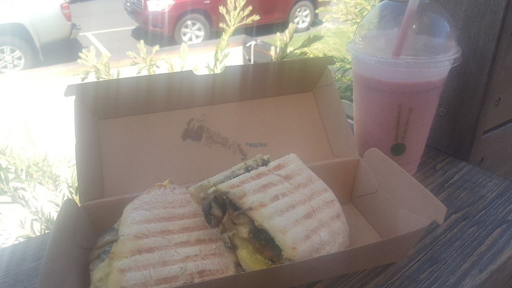 """Photo of Onyx by Chrissy's Organics  by <a href=""""/members/profile/GenevieveMareeHartne"""">GenevieveMareeHartne</a> <br/>Vegan brie and mushroom ciabatta, berry coconut and lemon zest smoothie <br/> January 25, 2017  - <a href='/contact/abuse/image/75152/216665'>Report</a>"""