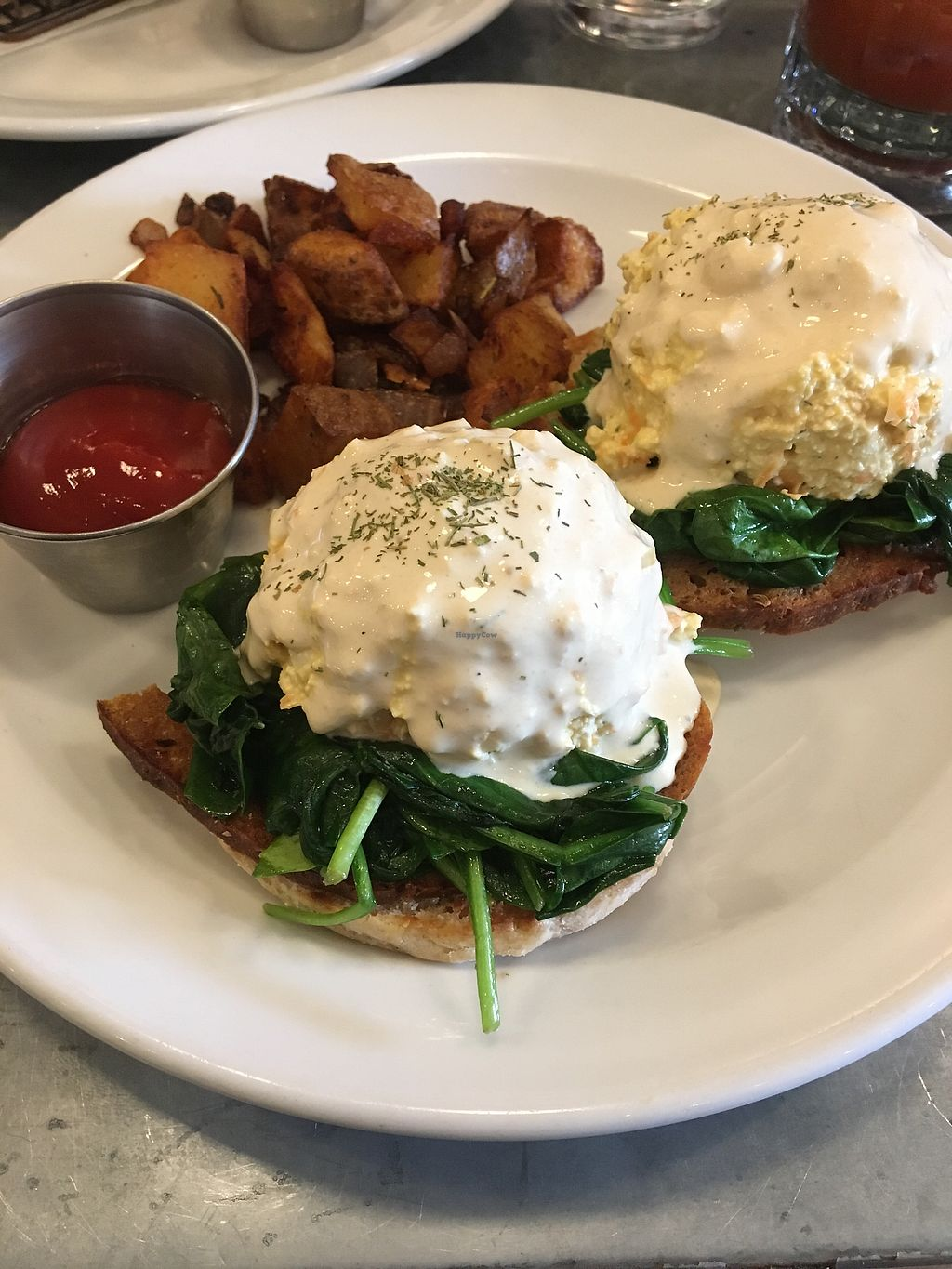 """Photo of Fare Well  by <a href=""""/members/profile/elisehartill"""">elisehartill</a> <br/>Tofu egg florentine with Seitan sausage!  <br/> January 2, 2018  - <a href='/contact/abuse/image/75173/342011'>Report</a>"""