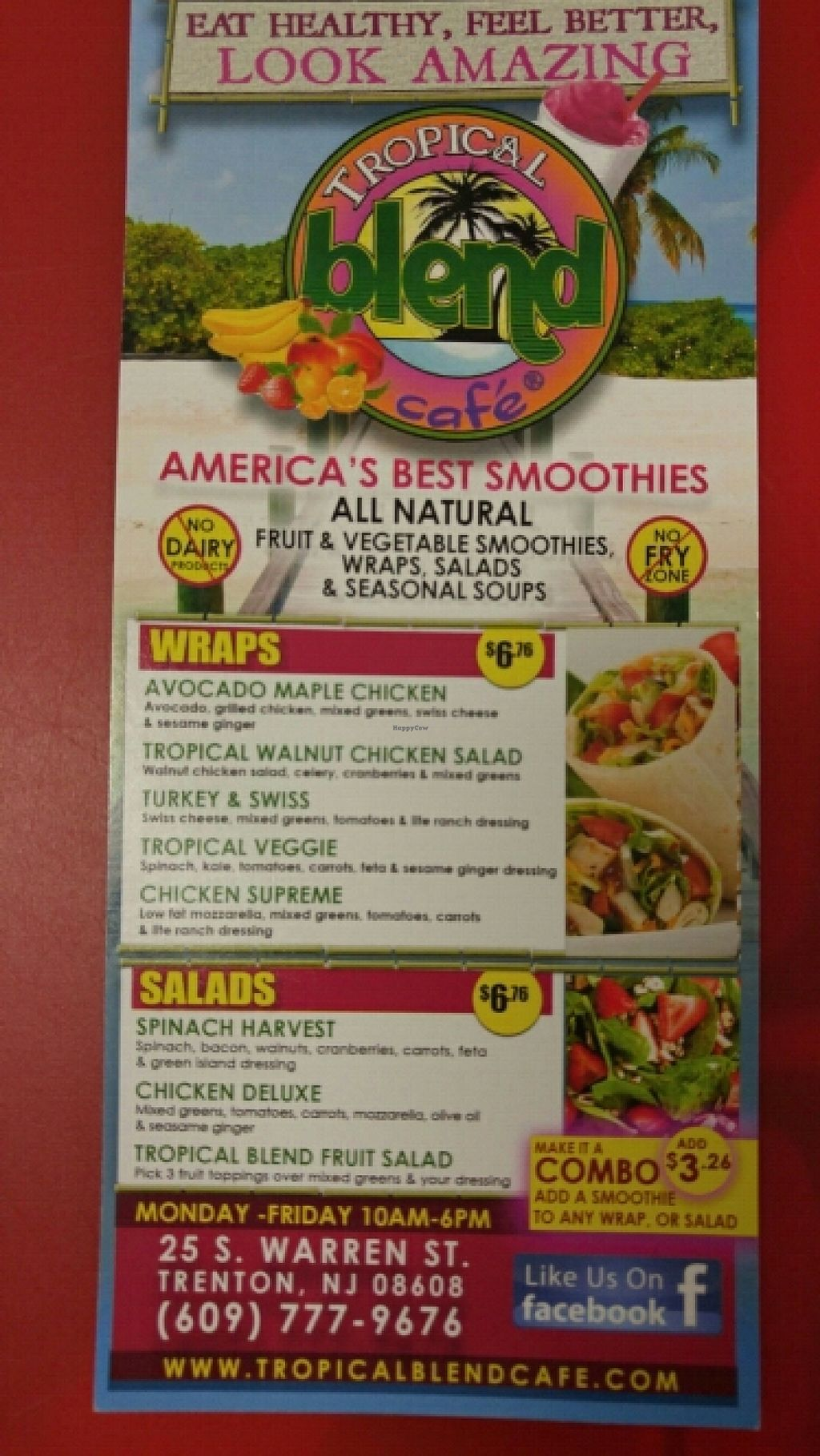 "Photo of Tropical Blend Cafe  by <a href=""/members/profile/3blackcats123"">3blackcats123</a> <br/>wraps and salad menu <br/> June 16, 2016  - <a href='/contact/abuse/image/75180/154293'>Report</a>"