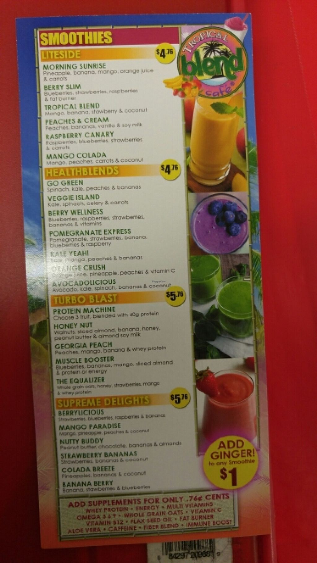 "Photo of Tropical Blend Cafe  by <a href=""/members/profile/3blackcats123"">3blackcats123</a> <br/>Smoothie Menu <br/> June 16, 2016  - <a href='/contact/abuse/image/75180/154294'>Report</a>"
