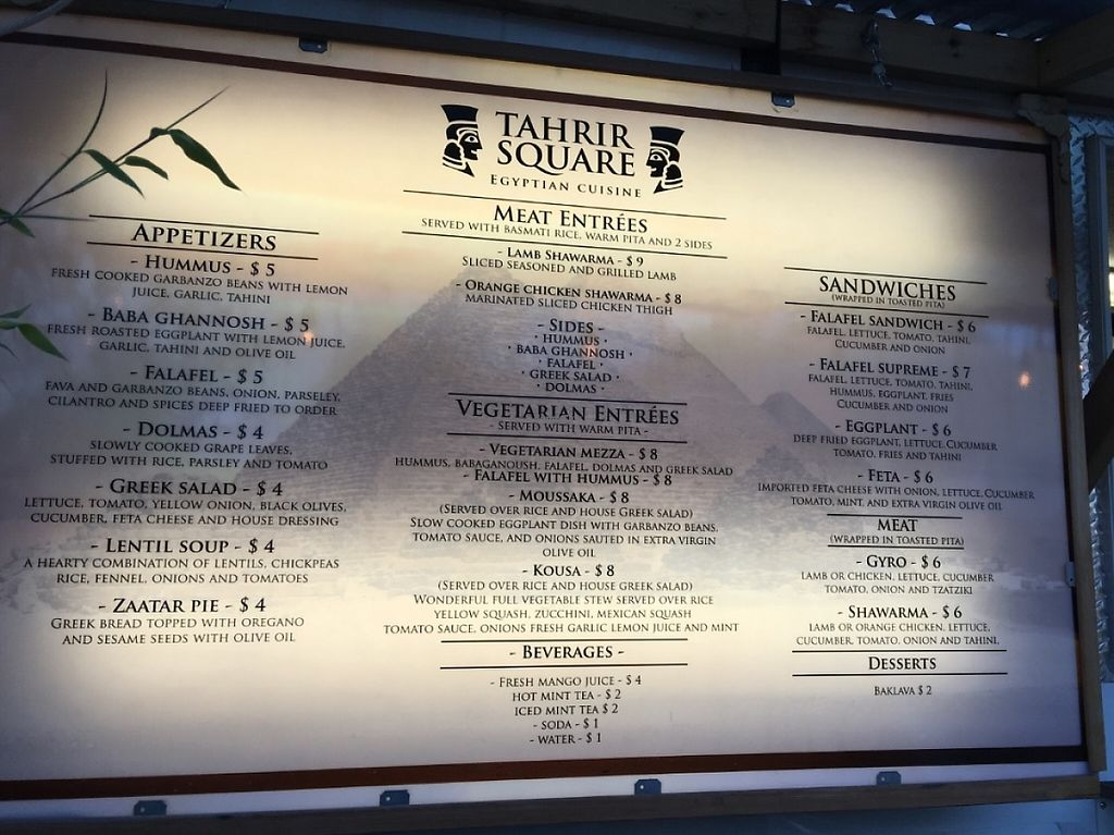 """Photo of Tahrir Square - Food Truck  by <a href=""""/members/profile/Arthousebill"""">Arthousebill</a> <br/>Menu <br/> June 25, 2016  - <a href='/contact/abuse/image/75190/220638'>Report</a>"""