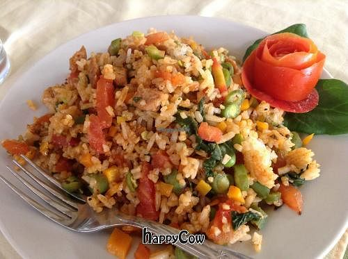 """Photo of Govinda  by <a href=""""/members/profile/veglife00"""">veglife00</a> <br/>Spanish Paella at Govinda, Agua Calientes <br/> June 3, 2013  - <a href='/contact/abuse/image/7519/49089'>Report</a>"""