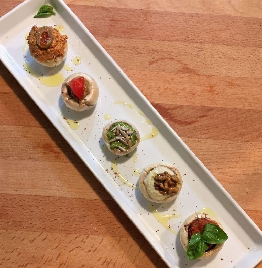 """Photo of Zdravo Zivo  by <a href=""""/members/profile/Sanstefanus"""">Sanstefanus</a> <br/>Staffed mushrooms with walnut meat, olive pate, pesto basil, tomato salsa, cashew mayo <br/> July 15, 2016  - <a href='/contact/abuse/image/75240/239079'>Report</a>"""