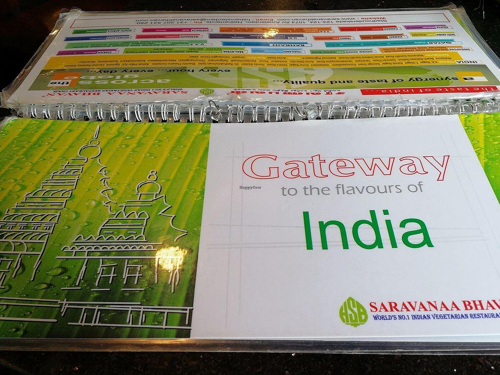 "Photo of Saravanaa Bhavan  by <a href=""/members/profile/Gudrun"">Gudrun</a> <br/>The menu <br/> November 5, 2017  - <a href='/contact/abuse/image/75244/322121'>Report</a>"