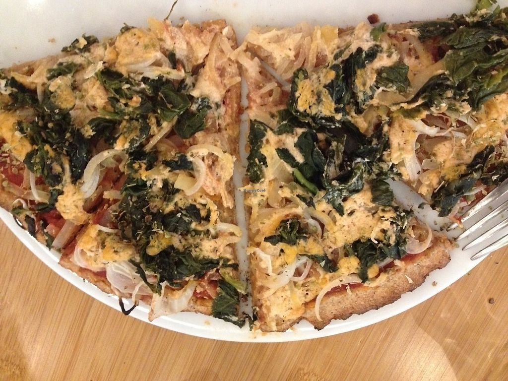 """Photo of CLOSED: Zodiac Pizza  by <a href=""""/members/profile/AnneK"""">AnneK</a> <br/>Spinach and onion vegan pizza <br/> July 26, 2016  - <a href='/contact/abuse/image/75252/203289'>Report</a>"""