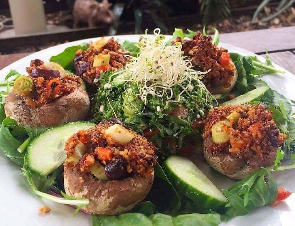 "Photo of Kimnat Little Market & Cafe  by <a href=""/members/profile/community"">community</a> <br/>Stuffed mushrooms with walnuts, sun-dried tomatoes, capsicum, shallots and olives <br/> January 9, 2017  - <a href='/contact/abuse/image/75265/254685'>Report</a>"