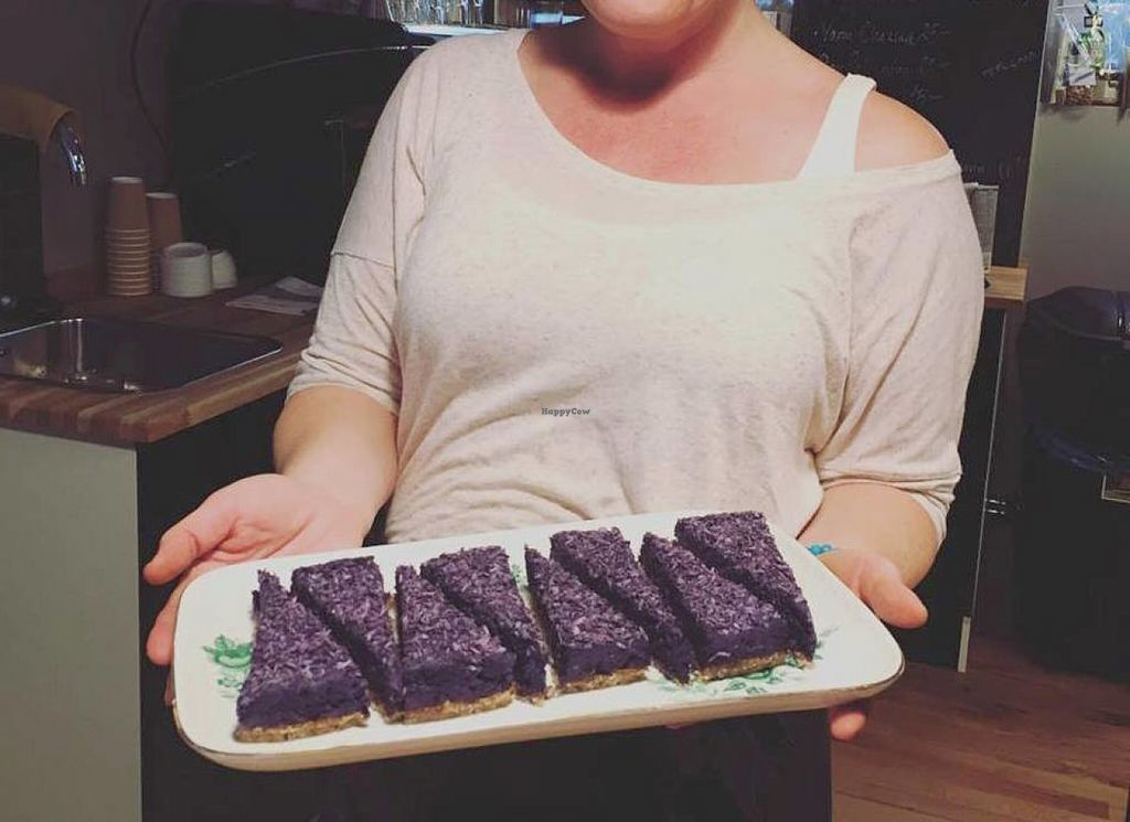 """Photo of Studio Frid Vegetarian Cafe  by <a href=""""/members/profile/Clalex"""">Clalex</a> <br/>New baked raw blueberrycake <br/> July 13, 2016  - <a href='/contact/abuse/image/75307/159497'>Report</a>"""