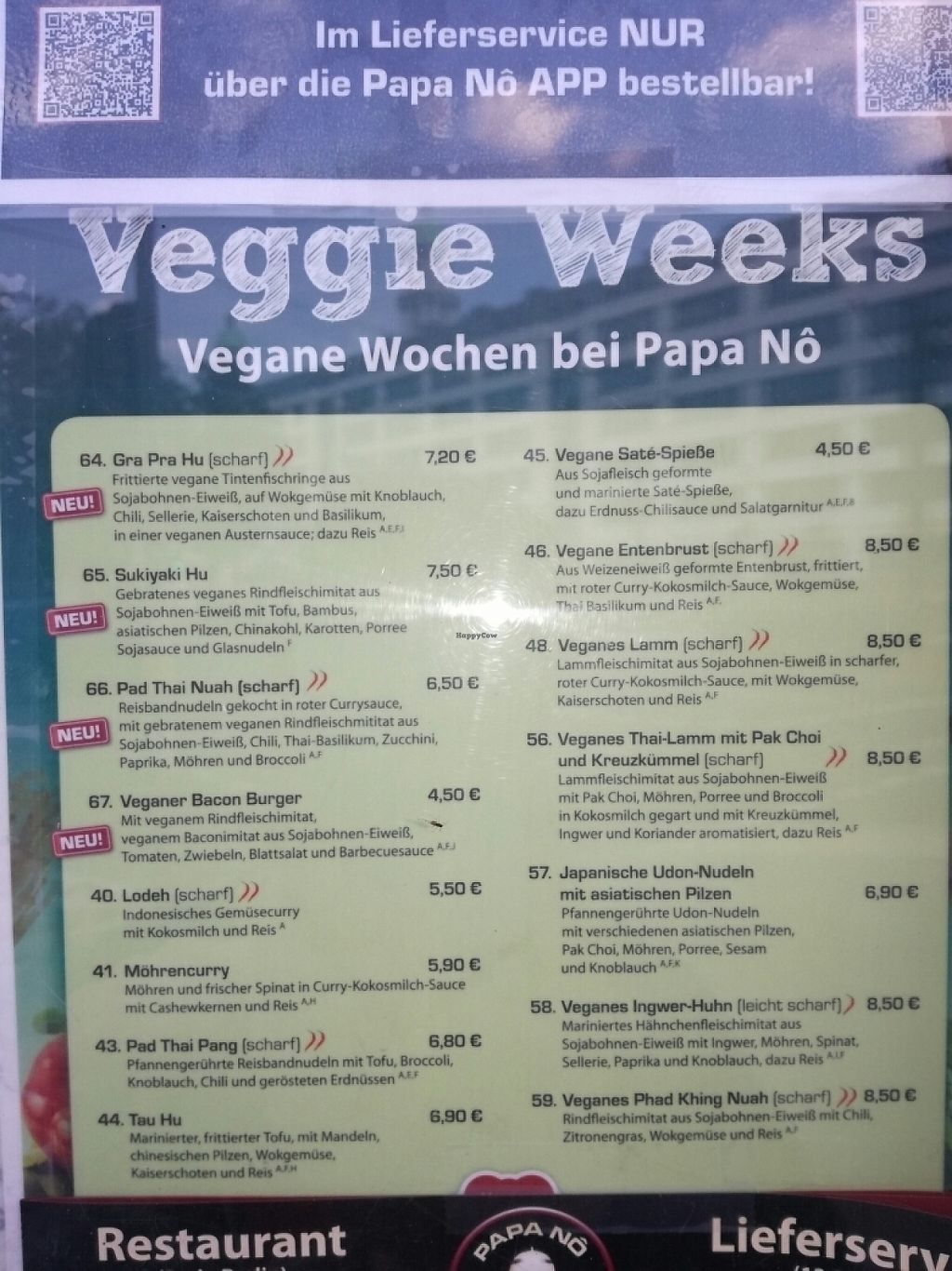 "Photo of Papa No  by <a href=""/members/profile/LouisePallesen"">LouisePallesen</a> <br/>Special vegan week menu <br/> May 28, 2017  - <a href='/contact/abuse/image/75311/263213'>Report</a>"
