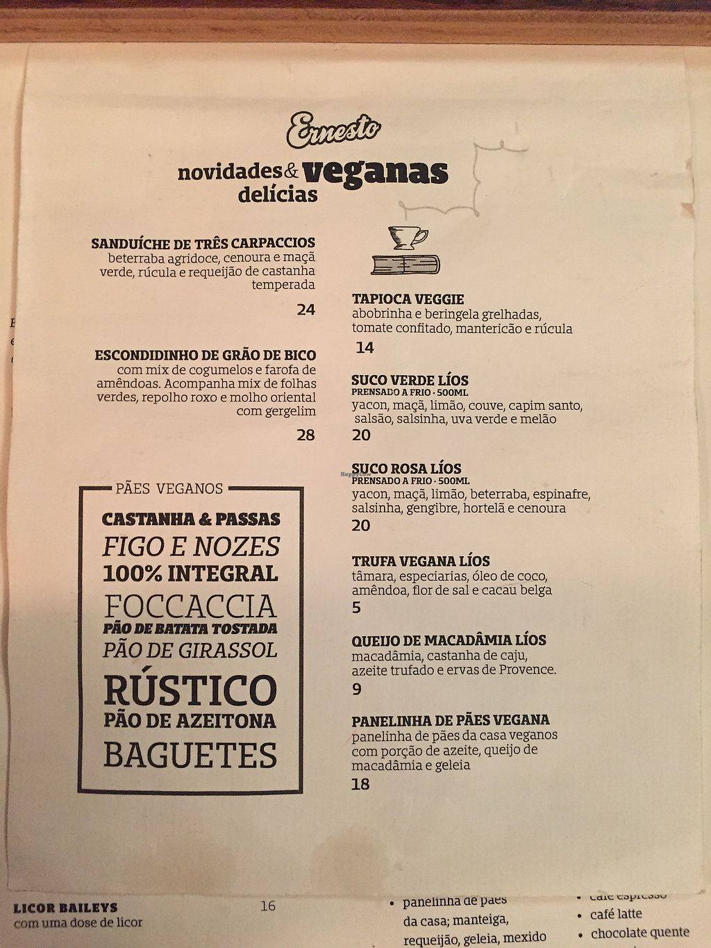 "Photo of Ernesto Cafes Especiais  by <a href=""/members/profile/MonicaPaulo"">MonicaPaulo</a> <br/>Vegan menu <br/> November 15, 2017  - <a href='/contact/abuse/image/75349/326007'>Report</a>"