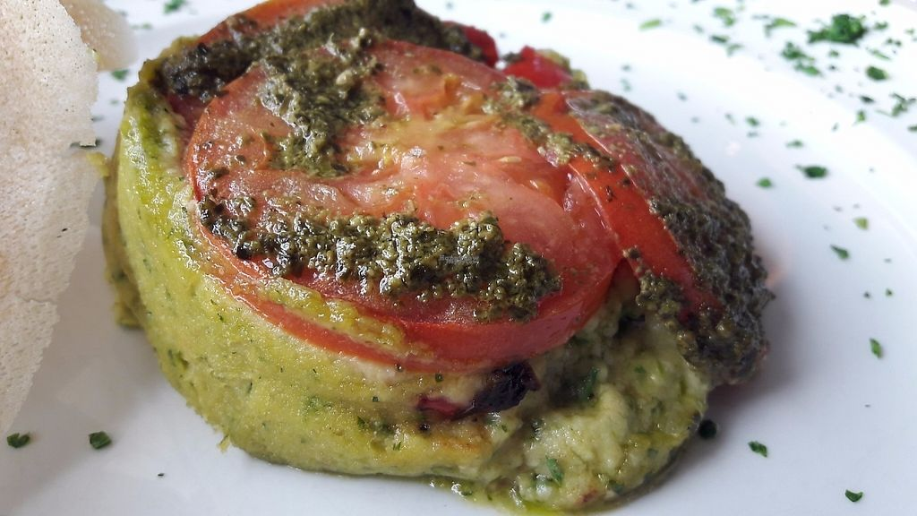 """Photo of CLOSED: Olives Restaurante  by <a href=""""/members/profile/Veganolive1"""">Veganolive1</a> <br/>Chickpea polenta roast vegetables & pesto <br/> January 3, 2017  - <a href='/contact/abuse/image/75356/207772'>Report</a>"""