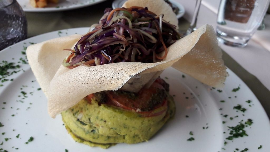 """Photo of CLOSED: Olives Restaurante  by <a href=""""/members/profile/Veganolive1"""">Veganolive1</a> <br/>Chickpea polenta with wafer <br/> January 3, 2017  - <a href='/contact/abuse/image/75356/207773'>Report</a>"""