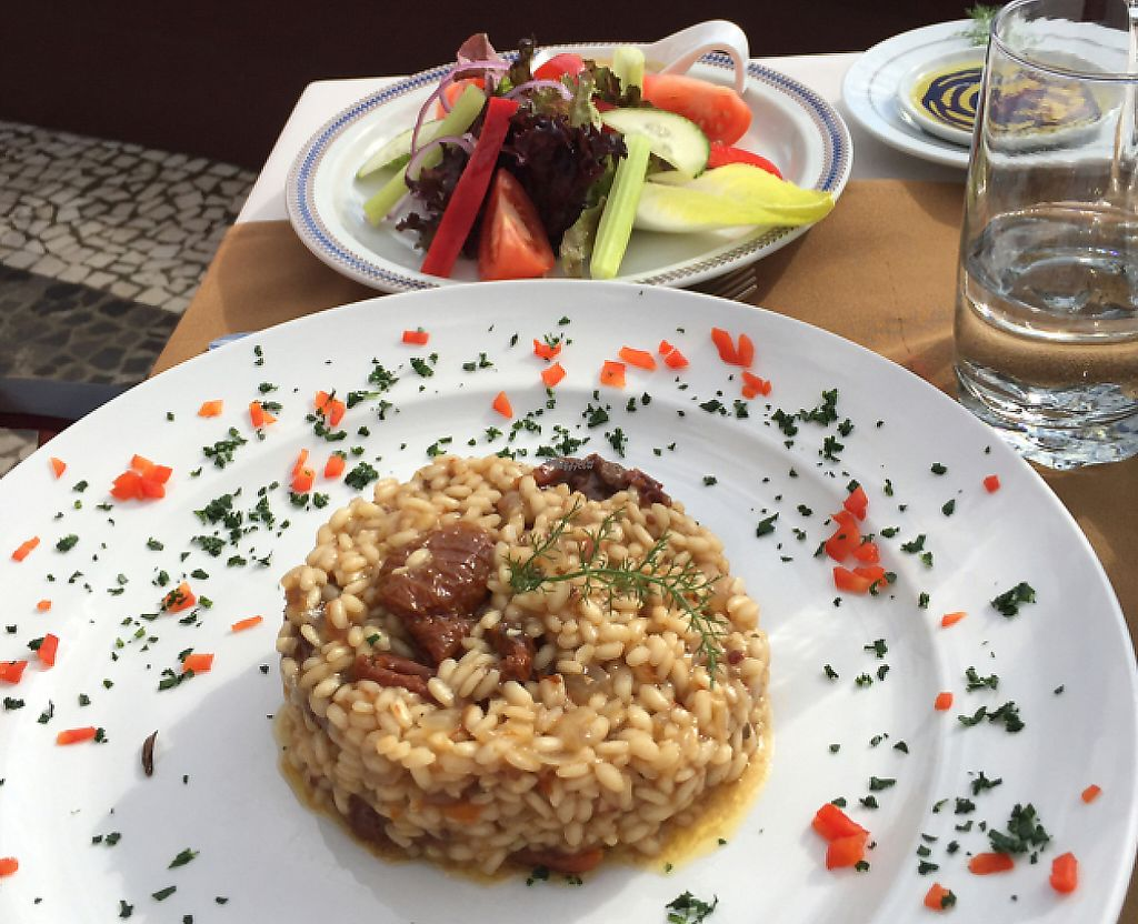 """Photo of CLOSED: Olives Restaurante  by <a href=""""/members/profile/Squirrel64"""">Squirrel64</a> <br/>Roast tomato risotto with side salad  <br/> January 21, 2017  - <a href='/contact/abuse/image/75356/240972'>Report</a>"""