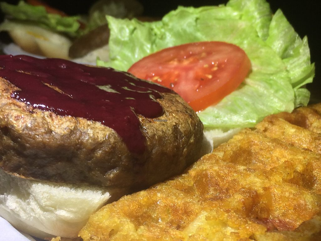 """Photo of The Keys  by <a href=""""/members/profile/ReinBeau"""">ReinBeau</a> <br/>Vegan cream cheese and jalapeño stuffed burger  <br/> November 9, 2017  - <a href='/contact/abuse/image/75358/323454'>Report</a>"""