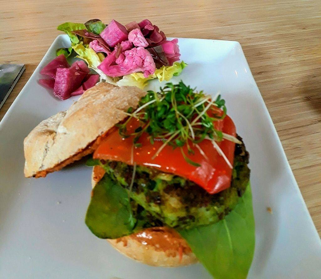 """Photo of GYS  by <a href=""""/members/profile/Viacer"""">Viacer</a> <br/>Vegan pea burger with bell pepper <br/> July 28, 2017  - <a href='/contact/abuse/image/75386/285900'>Report</a>"""