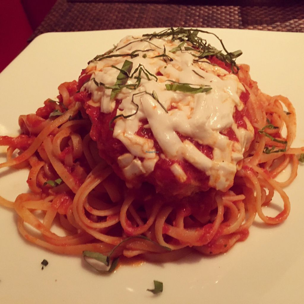 """Photo of Wynn Hotel - Allegro  by <a href=""""/members/profile/VeganCookieLover"""">VeganCookieLover</a> <br/>Gardein Chick'n Parmigiano with linguine  <br/> June 20, 2016  - <a href='/contact/abuse/image/75394/155133'>Report</a>"""
