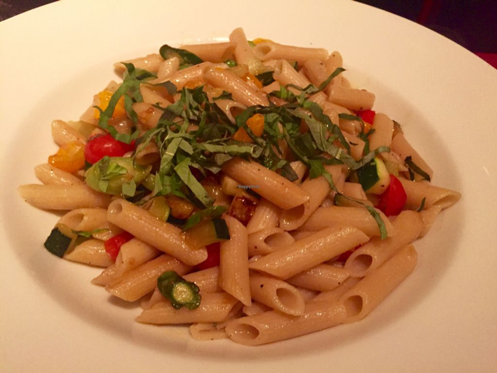"""Photo of Wynn Hotel - Allegro  by <a href=""""/members/profile/VeganCookieLover"""">VeganCookieLover</a> <br/>Organic ancient grain penne with extra virgin olive oil, basil, cherry tomatoes, zucchini and asparagus  <br/> June 20, 2016  - <a href='/contact/abuse/image/75394/155150'>Report</a>"""