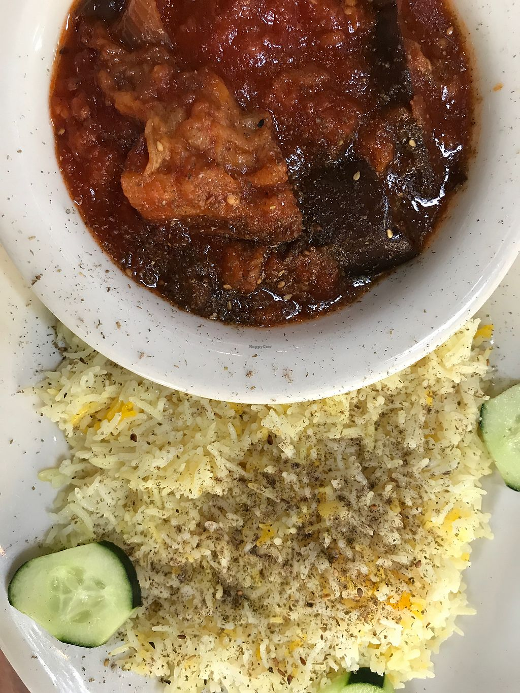 """Photo of Dar Salam - Downtown  by <a href=""""/members/profile/Arthousebill"""">Arthousebill</a> <br/>Eggplant stew and aromatic rice  <br/> October 14, 2017  - <a href='/contact/abuse/image/75408/315156'>Report</a>"""