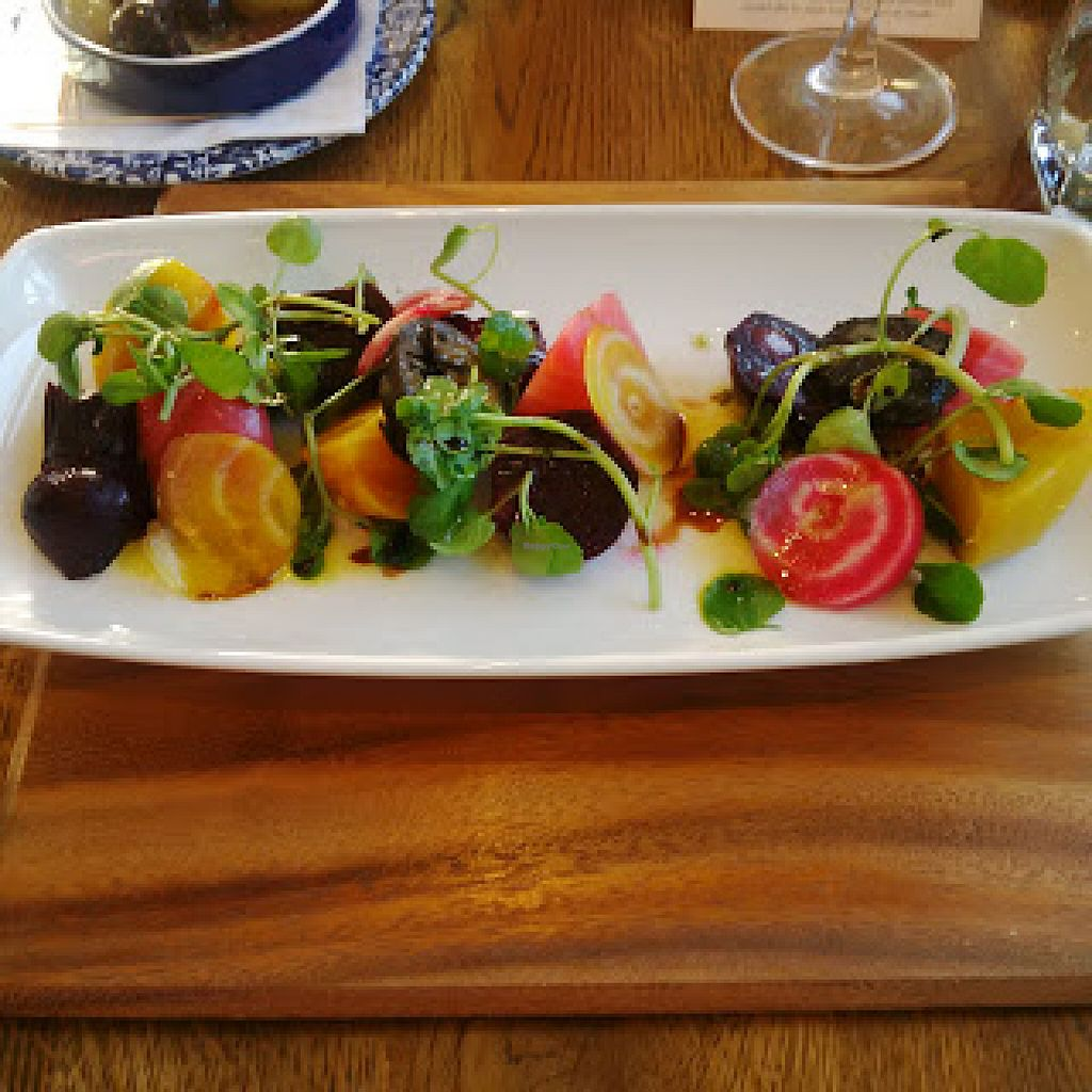 """Photo of The Aspinall Arms  by <a href=""""/members/profile/Veganolive1"""">Veganolive1</a> <br/>Beetroot carpaccio <br/> June 20, 2016  - <a href='/contact/abuse/image/75412/155153'>Report</a>"""