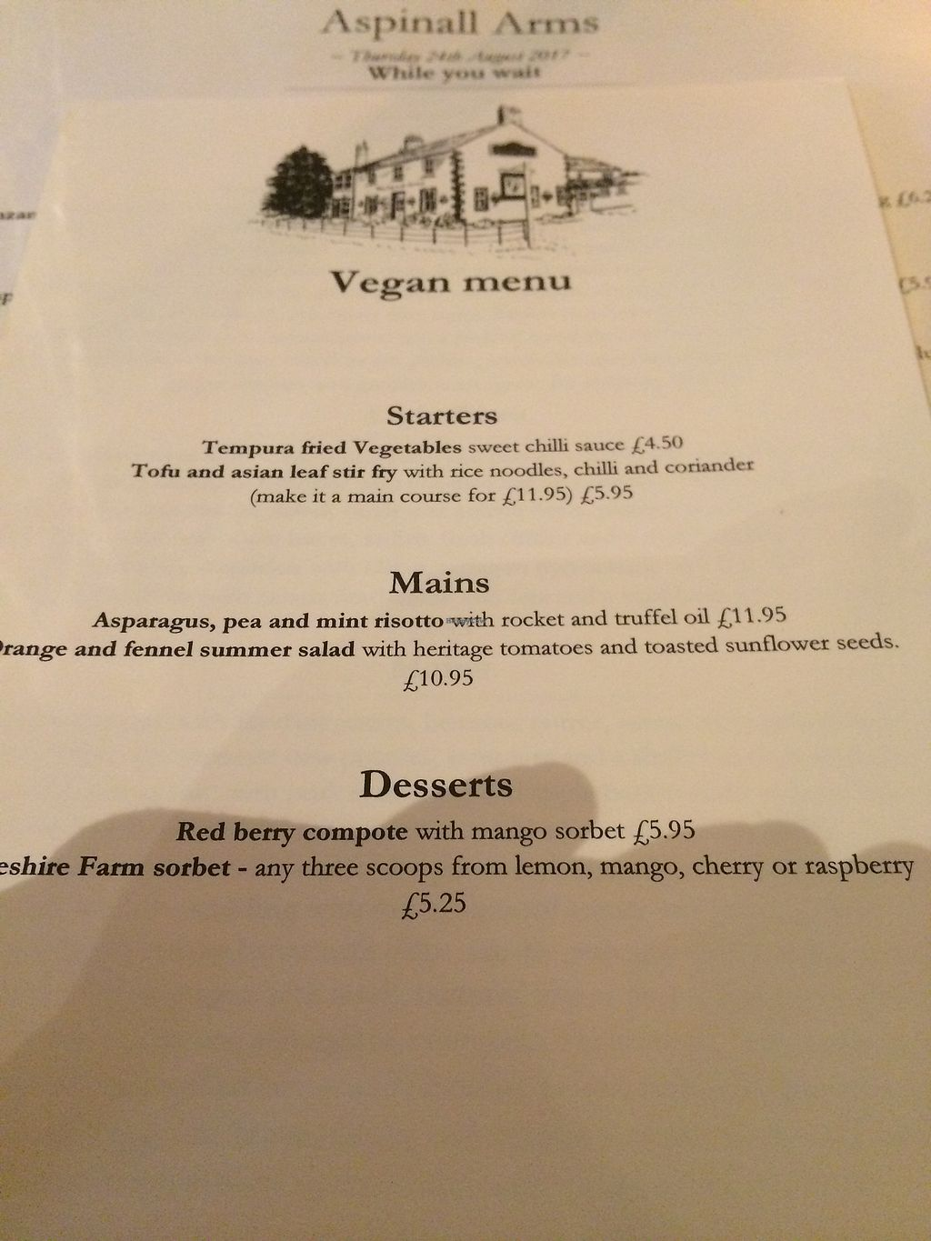 """Photo of The Aspinall Arms  by <a href=""""/members/profile/HollyRoseRobinson"""">HollyRoseRobinson</a> <br/>august 17 menu <br/> August 24, 2017  - <a href='/contact/abuse/image/75412/296870'>Report</a>"""