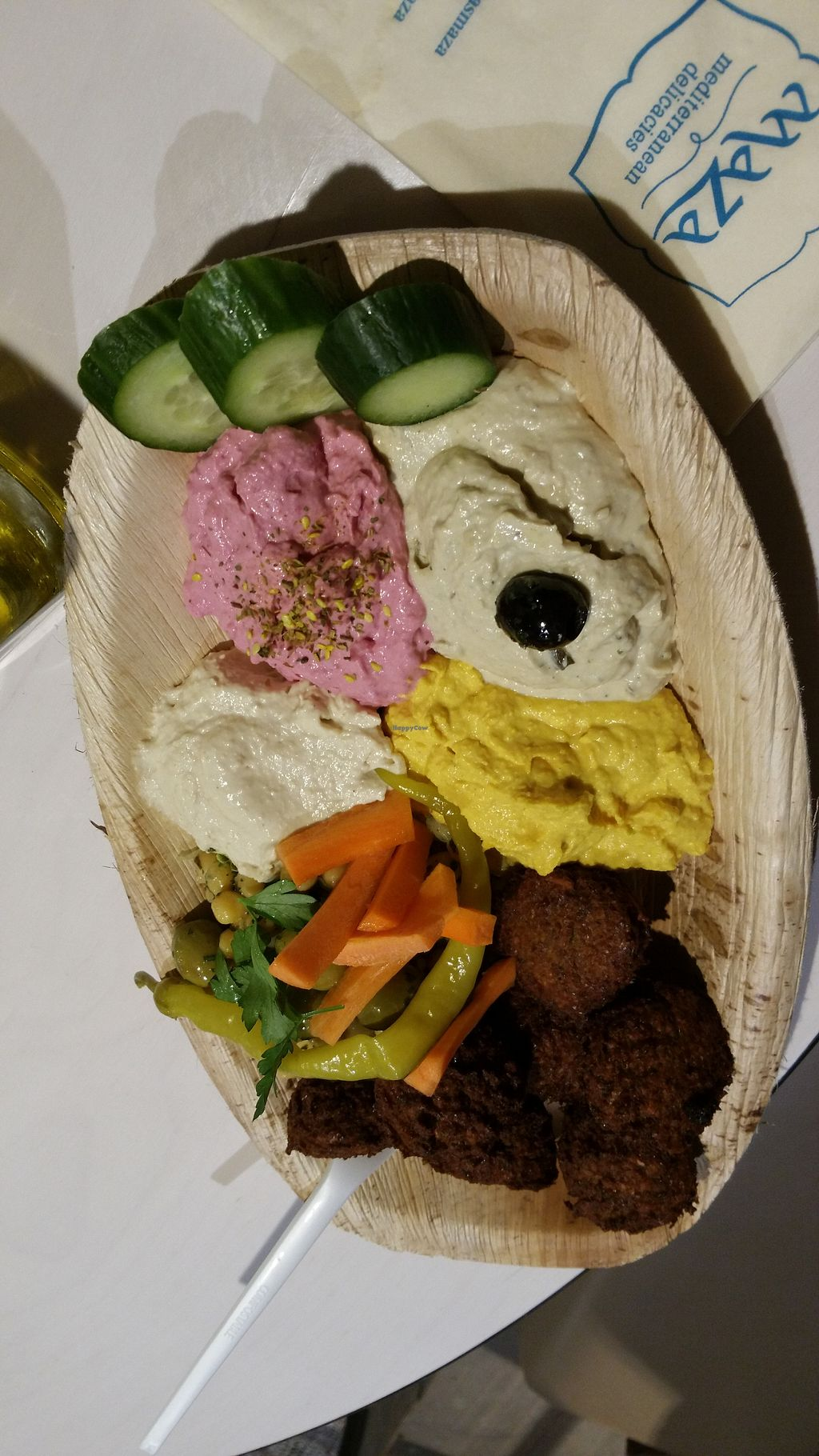 """Photo of Maza Mediterranean Delicacies  by <a href=""""/members/profile/Mallorcatalks"""">Mallorcatalks</a> <br/>Mixed hummus and falafel plate for 7,50 Euro (usually served with bread)  <br/> November 3, 2017  - <a href='/contact/abuse/image/75425/321544'>Report</a>"""