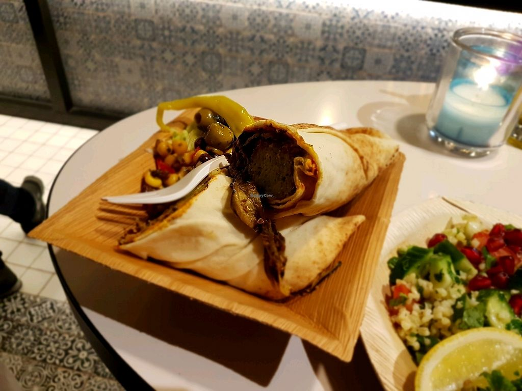 """Photo of Maza Mediterranean Delicacies  by <a href=""""/members/profile/Hoggy"""">Hoggy</a> <br/>Vegan falafel and grilled vegetable wrap <br/> December 14, 2017  - <a href='/contact/abuse/image/75425/335496'>Report</a>"""