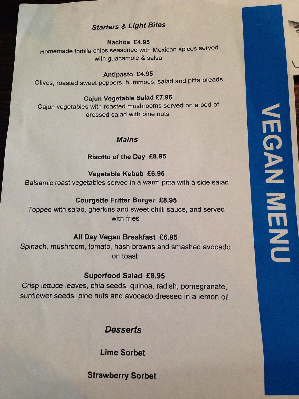 """Photo of Maxwells Cafe Bar  by <a href=""""/members/profile/ameliabysea"""">ameliabysea</a> <br/>Vegan menu on Friday 21st July 2017. There's also passionfruit and lemon sorbet which have been added since the menu was printed! <br/> July 21, 2017  - <a href='/contact/abuse/image/75439/282965'>Report</a>"""